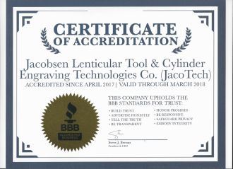 certificate of accreditation for jacobsen lenticular tool & cylinder engraving technologies co. (jacotech) 2017-2018 by bbb chicago copy