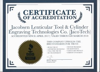 bbb accreditation certificate to jacotech april 2017